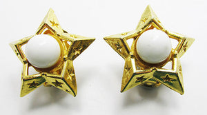 Garne Vintage 1950s Pretty Star Shaped Button Earrings