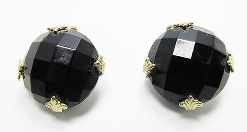 Vogue Vintage 1950s Timeless Onyx Rhinestone Button Earrings