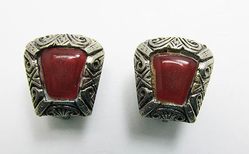 Vintage Mid Century Etched Geometric Button Earrings