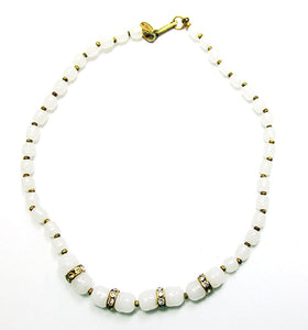 Miriam Haskell 1950s Unique Mid-Century Diamante and Bead Necklace - Front