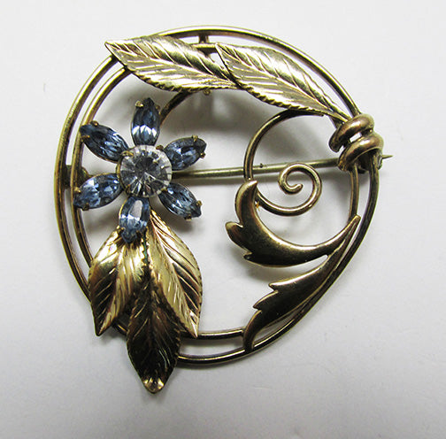 Carl Art Vintage 1940s Retro Gold Filled Floral Rhinestone Pin/Pendant