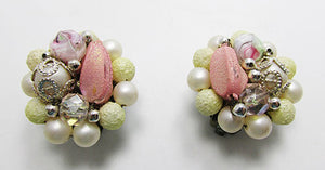 Unique Japan Vintage eye-Catching Mid-Century Bead Button Earrings