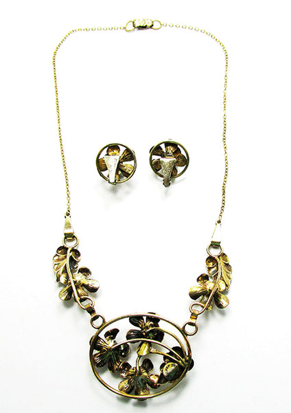 Raleigh 1940s Vintage Exquisite Pearl Floral Necklace and Earrings Set - Back