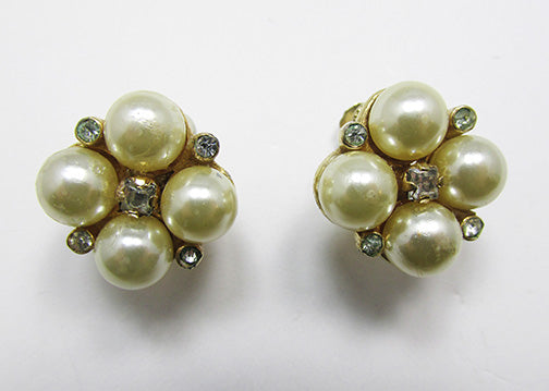Castlecliff Vintage Retro Lovely Pearl Geometric Button Earrings