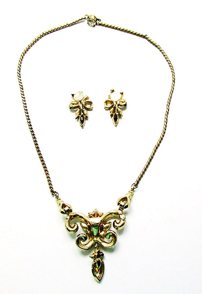 Coro Vintage Mid-Century Magnificent Floral Necklace and Earrings Set