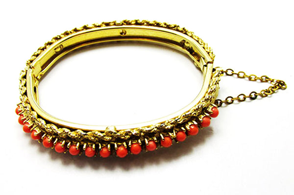 Vintage 1960s Jewelry Stunning Coral Bead Bangle Bracelet - Side