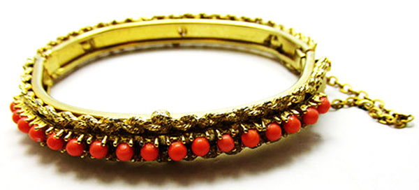 Vintage 1960s Jewelry Stunning Coral Bead Bangle Bracelet
