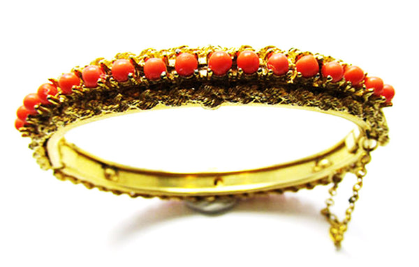 Vintage 1960s Jewelry Stunning Coral Bead Bangle Bracelet - Close Up