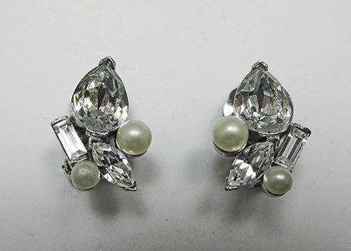 Marvella Vintage Striking 1950s Pearl and Rhinestone Button Earrings