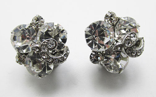 Weiss Vintage 1950s Extraordinary Rhinestone Button Earrings