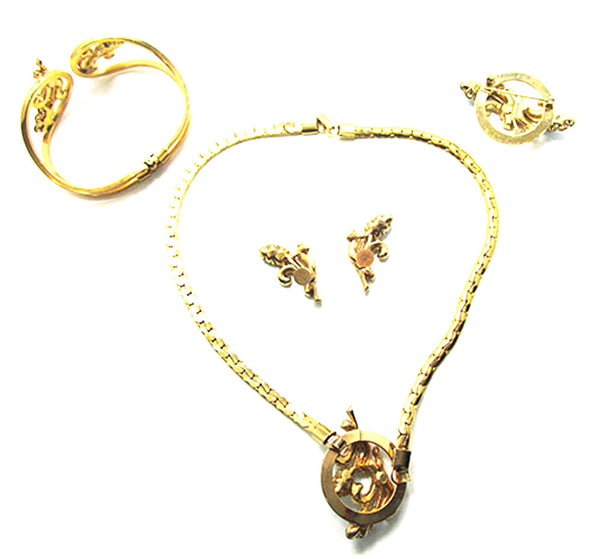 Oleg Cassini 1950 Vintage Diamante and Pearl Gold Plate Four Piece Set - Back