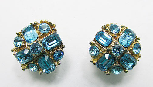 Claudette Vintage Mid-Century Flawless Aquamarine Button Earrings