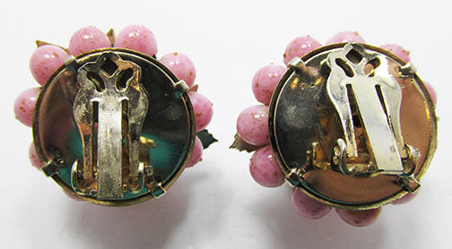Vintage Mid Century Outstanding Art Glass Floral Button Earrings