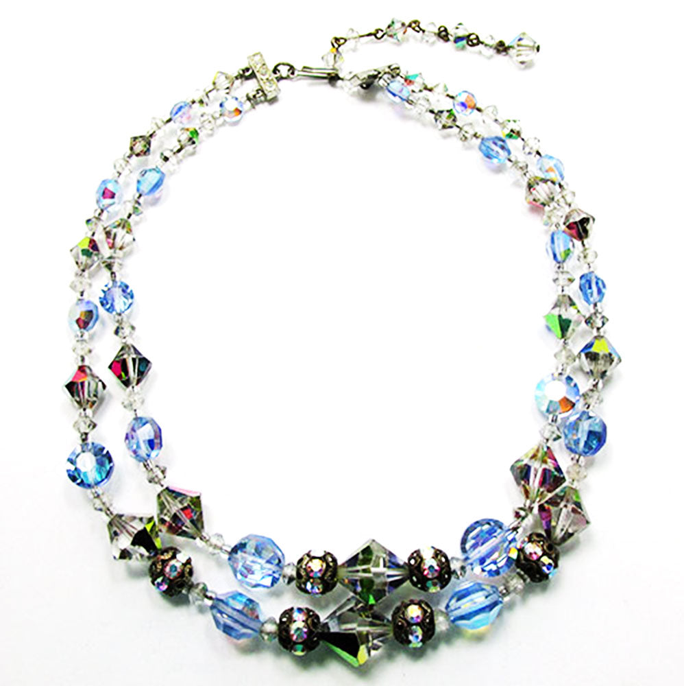 1950s Vintage Jewelry Eye-Catching Crystal and Bead Choker Necklace - Front