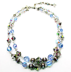 Vintage Mid-Century Eye-Catching Crystal and Bead Choker Necklace
