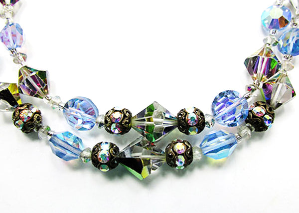 1950s Vintage Jewelry Eye-Catching Crystal and Bead Choker Necklace - Close Up