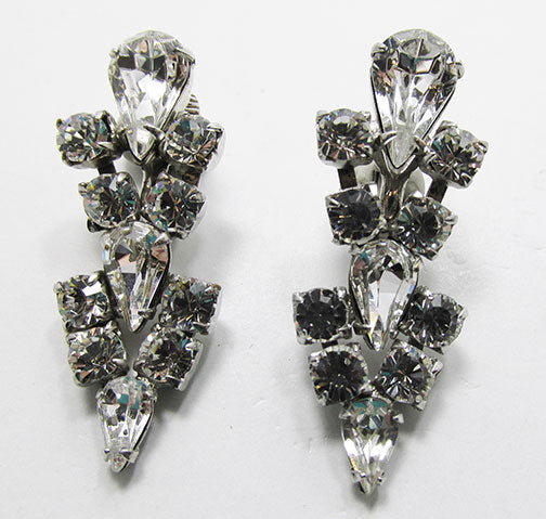 Vintage 1960s Retro Glamorous Rhinestone Drop Earrings