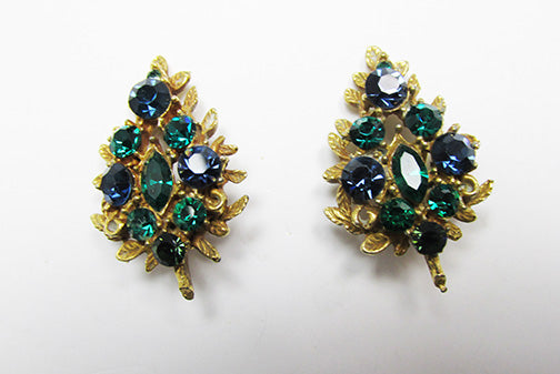 Coro Pegasus Mark Vintage Striking Retro Sapphire and Emerald Earrings