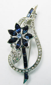Vintage 1950s Eye-Catching Mid Century Sapphire Floral Pin