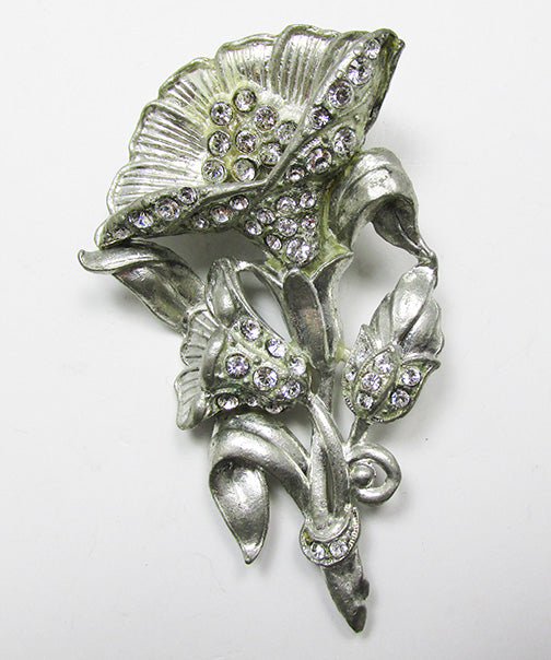 Vintage Lovely 1930s Book Piece Rhinestone Floral Bouquet Pin