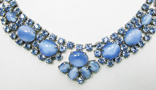 Vintage 1950s Gorgeous Sapphire Blue and Moonstone Necklace