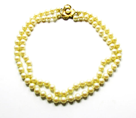 Vintage 1950s Jewelry Lovely Mid-Century Double Strand Pearl Necklace - Front