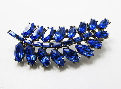 Wiesner Vintage 1950s Spectacular Sapphire Blue Leaf Pin