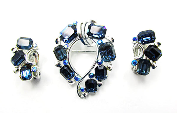 Lisner 1950s Vintage Jewelry Mid-Century Sapphire Pin and Earrings Set - Front