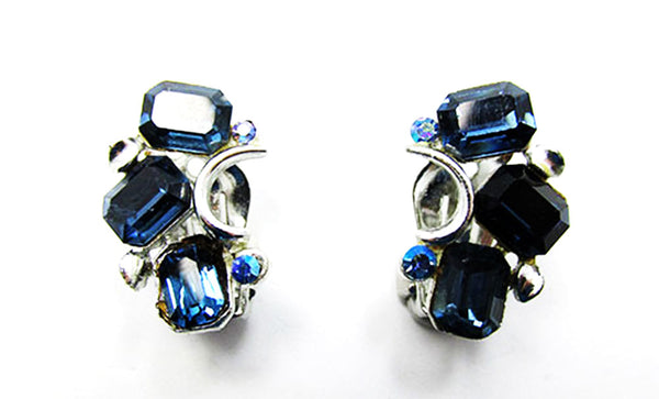 Lisner 1950s Vintage Jewelry Mid-Century Sapphire Pin and Earrings Set - Earrings