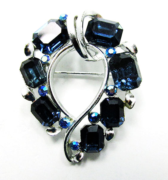 Lisner 1950s Vintage Jewelry Mid-Century Sapphire Pin and Earrings Set - Pin