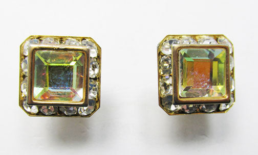 Vintage 1960s Dazzling Retro Geometric Button Earrings