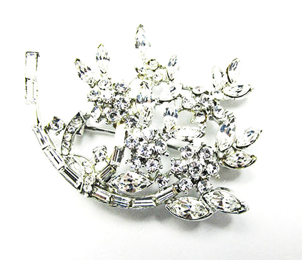 Vintage 1950s Jewelry Striking Mid-Century Diamante Floral Spray Pin - Front
