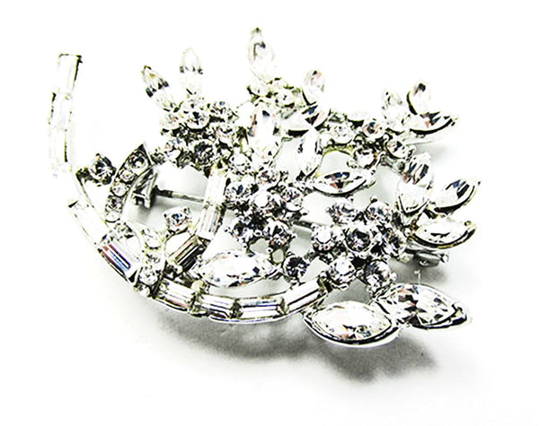 Striking Vintage Mid-Century Sparkling Rhinestone Floral Spray Pin