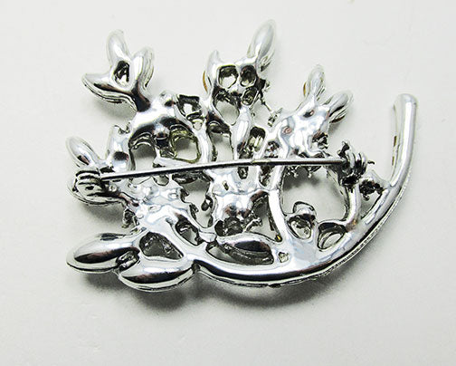 Vintage 1950s Jewelry Striking Mid-Century Diamante Floral Spray Pin - Back