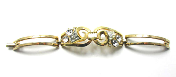 Trifari Vintage 1960s Superb Retro Book Piece Rhinestone Bracelet