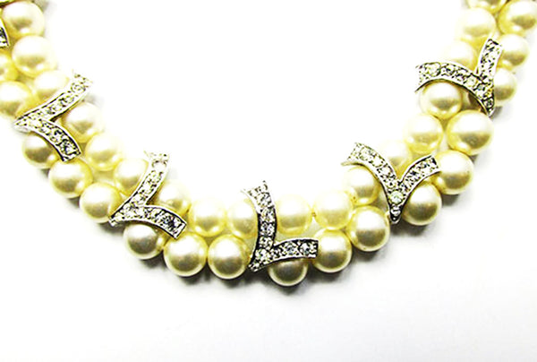 Marvella Vintage Mid-Century Stunning Pearl and Rhinestone Necklace