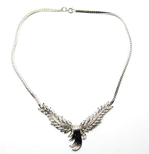 Beautiful Unique Vintage 1950s Mid-Century Rhinestone Feather Necklace
