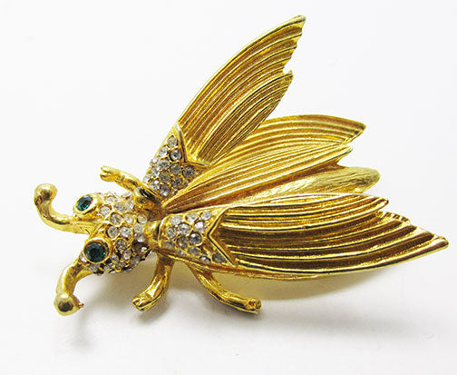 Vintage 1950s Marvelous Retro Rhinestone Insect Trembler Pin