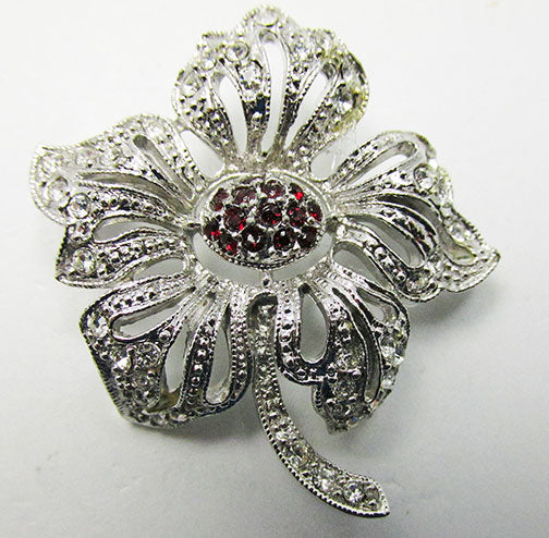 Hedy Vintage Mid Century 1950s Fabulous Floral Rhinestone Pin