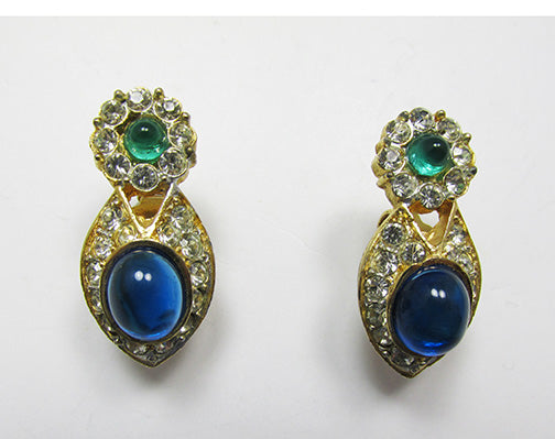 Vintage 1960s Retro Contemporary Style Emerald and Sapphire Earrings