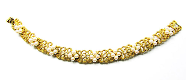 Crown Trifari Vintage Jewelry 1950s Mid-Century Pearl Floral Bracelet - Front