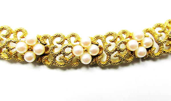 Crown Trifari Vintage Jewelry 1950s Mid-Century Pearl Floral Bracelet - Close Up