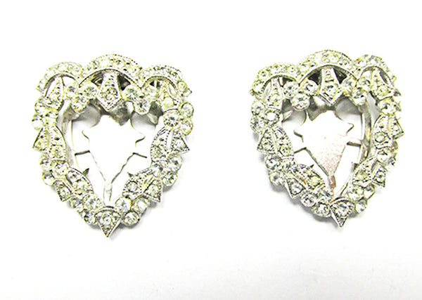 Vintage 1930s Jewelry Pair of Clear Diamante Floral Dress Clips - Front