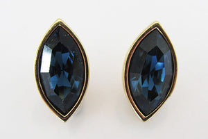Swarovski (SAL) Stunning Vintage Retro Sapphire Rhinestone Earrings