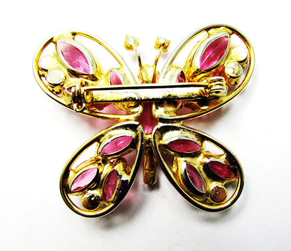 Vintage 1950s Dazzling Mid-Century Pink Rhinestone Butterfly Pin