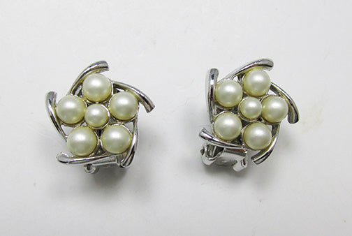 Bogoff Vintage Mid Century 1950s Pearl Button Earrings