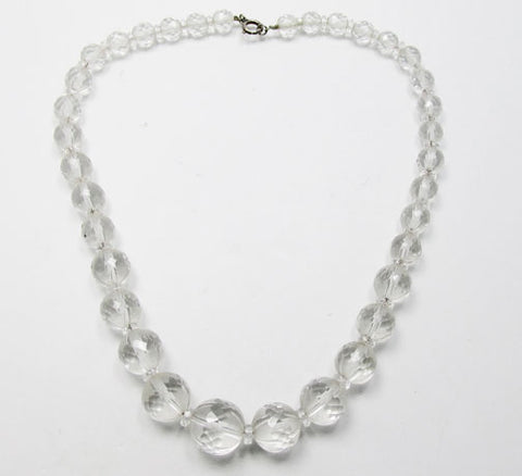 Vintage 1930s Desirable Faceted Frosted Glass Bead Necklace