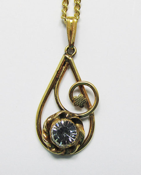 AMCO Vintage Retro 1940s Gold Filled Abstract Rhinestone Pendant