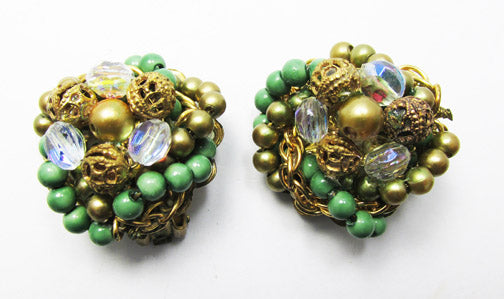 Vintage 1950s Spectacular Mid Century Crystal and Bead Earrings