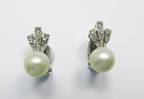 Panetta Vintage 1950s Delicate Pearl and Rhinestone Earrings
